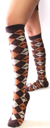 Argyle Mustache Knee High Socks-From Sock it to Me