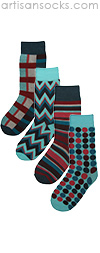 Beatnik Blue 4 Pair of Socks by Project Runway Winner Jay McCarroll