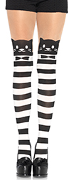 Black and White Striped Fancy Cat Tights
