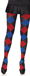 Black, Blue and Red Argyle Nylon Tights