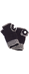 Fingerless Gloves with Knit Flowers - BLACK / GRAY