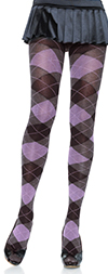 Black, Purple and Heather Gray Argyle Cotton Tights