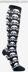 Phantom Black and White Skull Knee High Socks