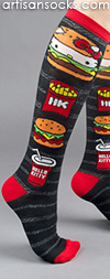 Burger and Fries Hello Kitty Knee High Socks