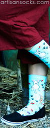 K. Bell Lt. Blue Butterflies and Puppies Crew Socks