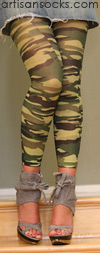 Celeste Stein Green and Brown Camo Print Leggings / Footless Tights