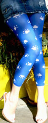 Celeste Stein BLUE PAWS LYCRA Print Leggings / Footless Tights