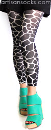 Black Giraffe Print Footless Tights by Celeste Stein