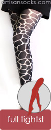 Black Giraffe Print Tights by Celeste Stein