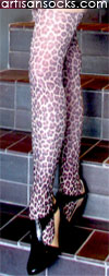 Celeste Stein Lurex Hairy Leopard Animal Print Tights / Stockings