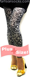 Plus Size Black Bandana Print Footless Tights