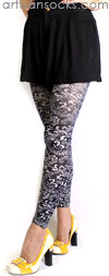 Black Bandana Print Footless Tights by Celeste Stein