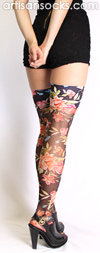 Sheer Thigh Highs in Black with Flower Print