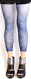 Royal Blue Footless Tights with Black Lace Print by Celeste Stein