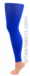 Celeste Stein BLUE LYCRA Solid Color Leggings / Footless Tights