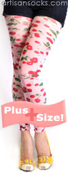 Plus Size Cherry Print Footless Tights