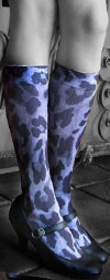 Celeste Stein Blue Cheetah and Denim Print Knee High Stockings / Trouser Socks