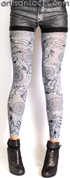 Gray Dragon Print Leggings - Footless Tights by Celeste Stein