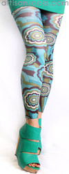 Turquoise Retro Floral Print Footless Tights by Celeste Stein