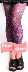 Plus Size Purple Floral Art Nouveau Footless Tights