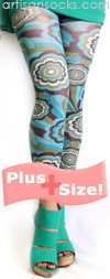 Plus Size Turquoise Retro Floral Print Footless Tights
