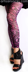 Purple Floral Art Nouveau Footless Tights by Celeste Stein