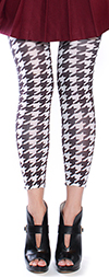 Celeste Stein Black Brown HOUNDSTOOTH Print Leggings / Footless Tights