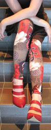 Celeste Stein TAUPE GEISHA LYCRA Print Leggings / Footless Tights