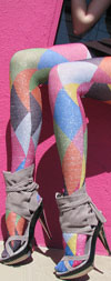 Celeste Stein Lurex Harlequin Geometric Print Tights / Stockings