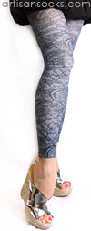 Slate Gray Footless Tights with Black Lace Print by Celeste Stein