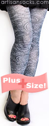 Plus Size Slate Gray Footless Tights with Black Lace Print