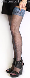 Sheer Lace Print Thigh High Stockings in Slate Gray by Celsete Stein