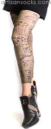 Taupe Tribal Art Footless Tights by Celeste Stein