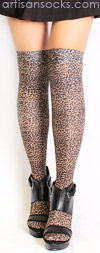 Leopard Print Over the Knee Socks by Celeste Stein