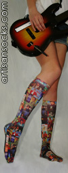 Celeste Stein Elvis Album Cover Print Knee High Stockings / Trouser Socks