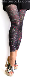 Polka Dot Paisley Pattern Footless Tights - Leggings by Celeste Stein