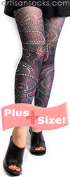 Plus Size Polka Dot Paisley Pattern Footless Tights