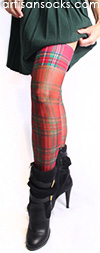 Sheer Red Plaid Thigh High Stockings by Celeste Stein
