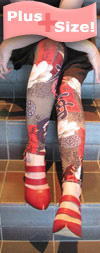 Plus Size Footless Tights with Taupe Floral Geisha Print