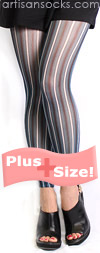 Plus Size Blue and Black Striped Footless Tights