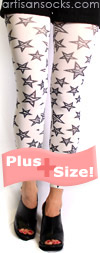 Plus Size Zebra Print Star Pattern Footless Tights