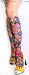 Retro Flower Print Knee High Socks -