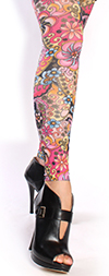 Retro Flower Print Footless Tights -