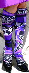 Celeste Stein Striped Purple Mamba and Animal Print Knee High Stockings