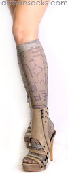 Taupe Tribal Art Knee High Stockings by Celeste Stein