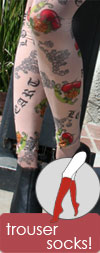 Celeste Stein Old English Tattoo Print Knee High Stockings / Trouser Socks