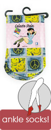 Celeste Stein Peace and Happy Face Stamps Short Trouser / Ankle Socks