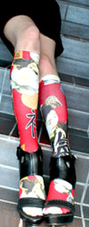 Celeste Stein RED MINI GEISHA Print Knee High Stockings / Trouser Socks