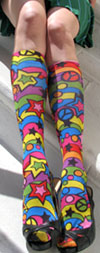 Celeste Stein RAINBOW 60'S Print Knee High Stockings / Trouser Socks