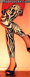 Zebra Print Footless Tights - Semi-Opaque Zebra Leggings by Celeste Stein